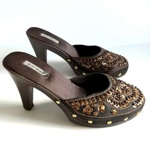 BAMBOO Brown embellished faux wood high heel clogs